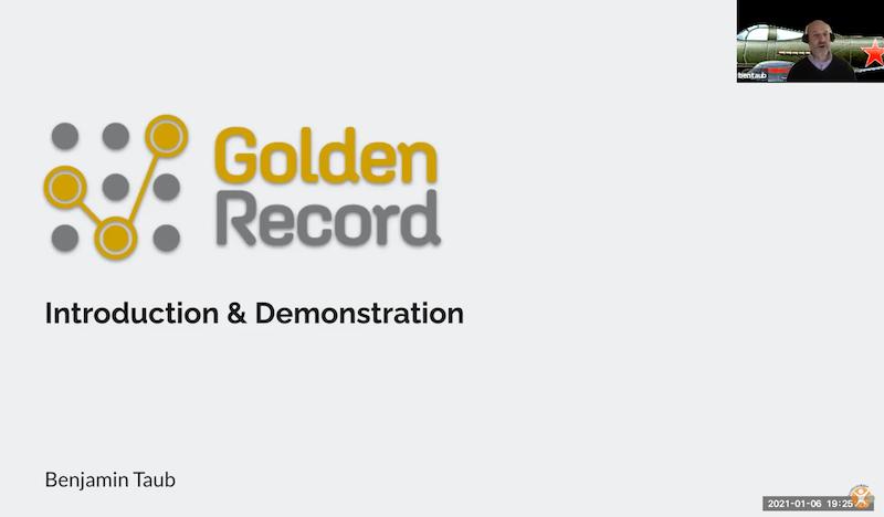 Ben Taub presents Golden REcord data matching app at DNewTech